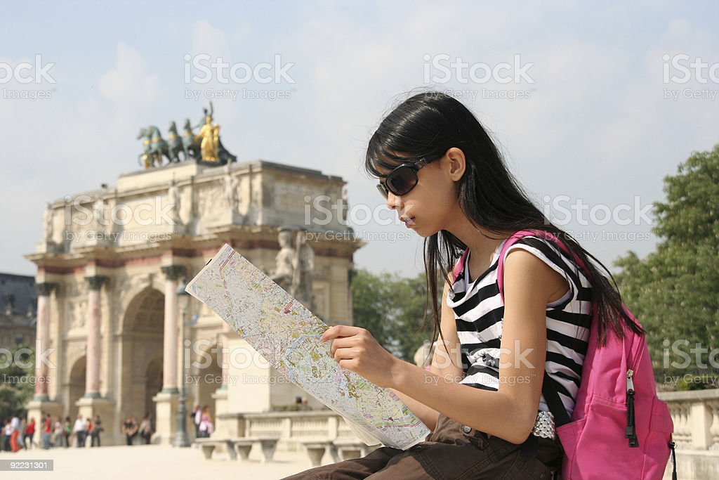 Girl with Map in Paris royalty-free stock photo