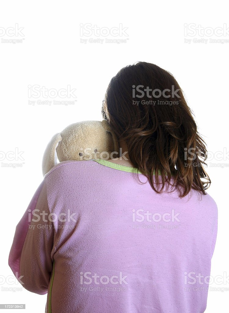 Girl with mascot stock photo