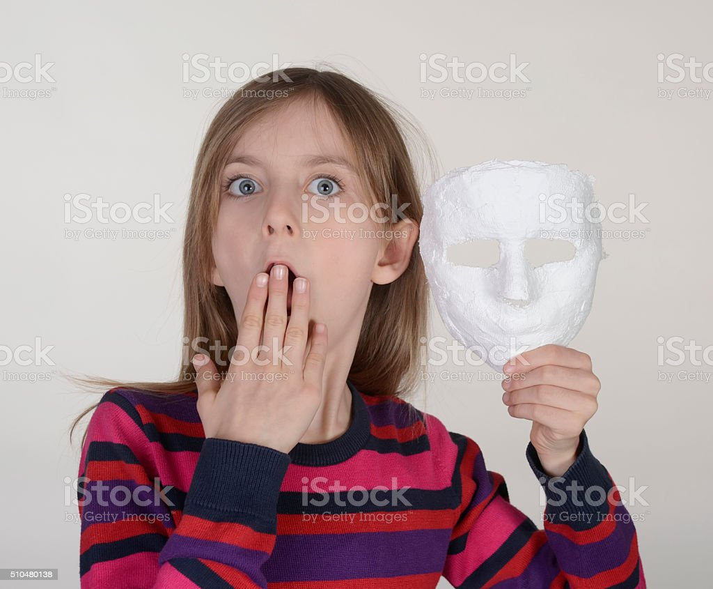 girl with mask stock photo