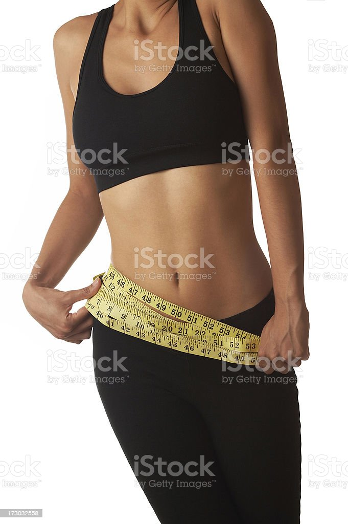 girl with measuring tape royalty-free stock photo
