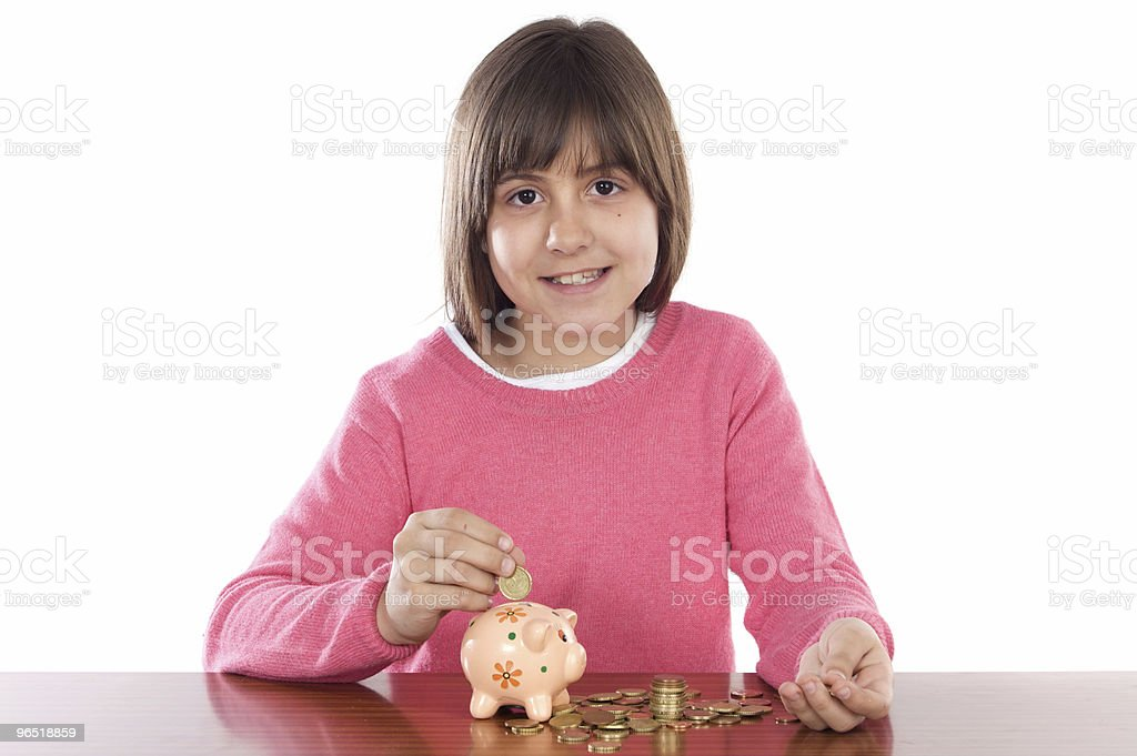 Girl with money box royalty-free stock photo