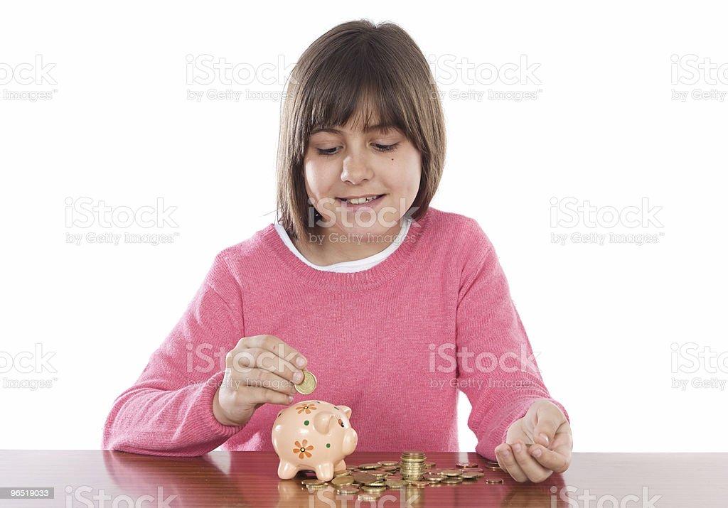 Dziewczyna z pieniędzy, pudełko zbiór zdjęć royalty-free