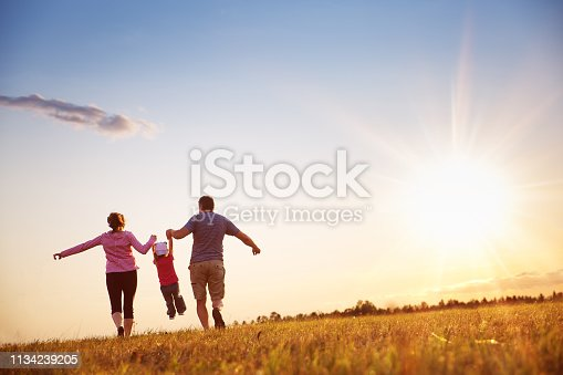 istock girl with mother and father holding hands on the nature 1134239205