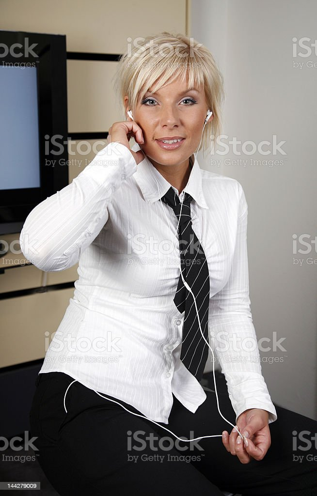 Girl with mp3-player royalty-free stock photo