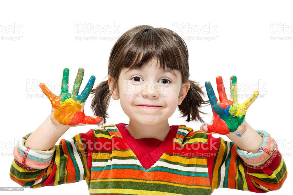Girl with multicolor painted hands royalty-free stock photo