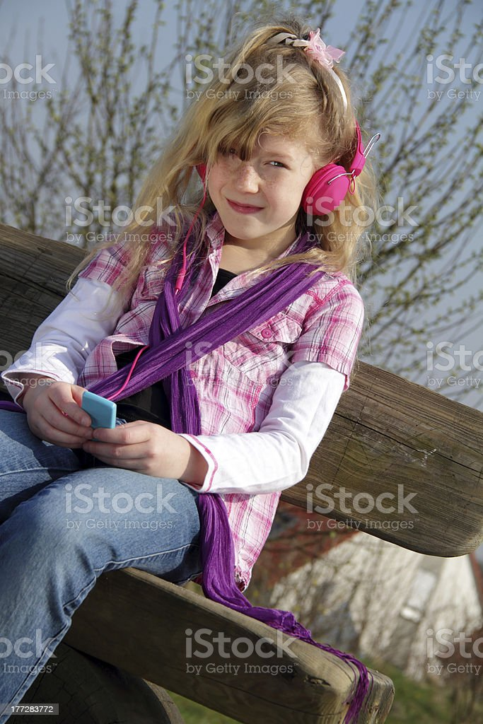 girl with music stock photo