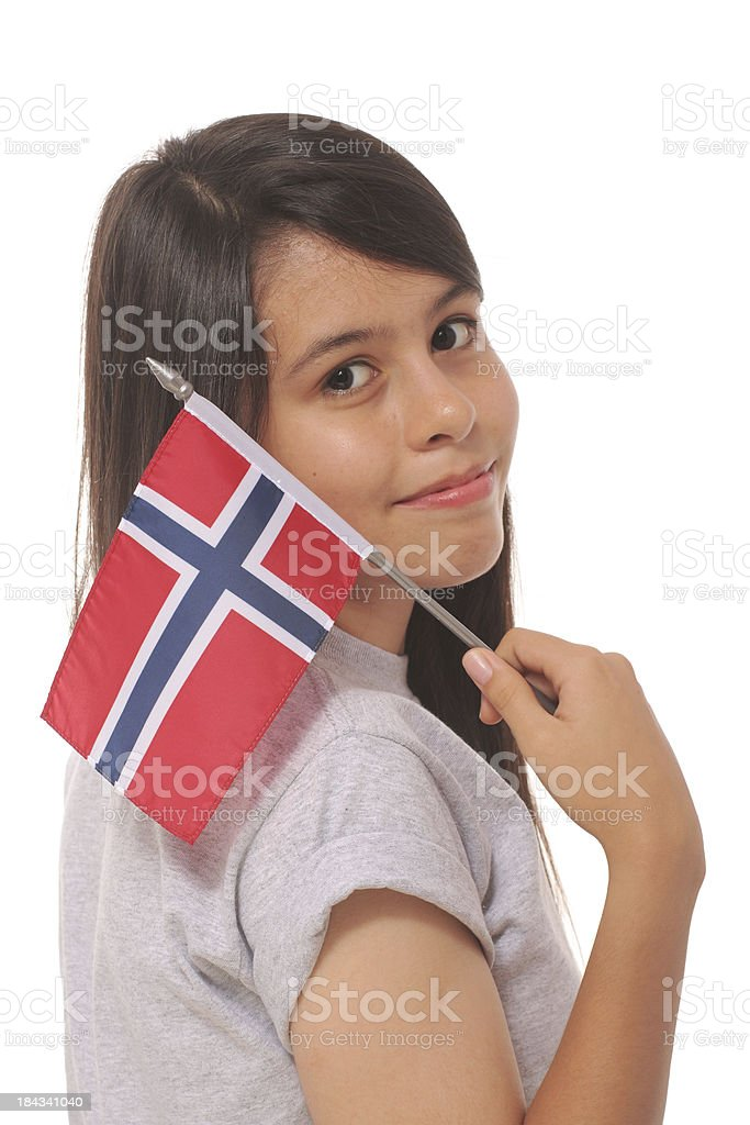 Girl With Norwegian Flag royalty-free stock photo