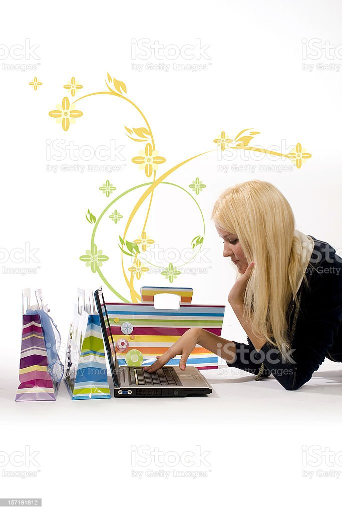Girl with notebook and shopping bags royalty-free stock photo