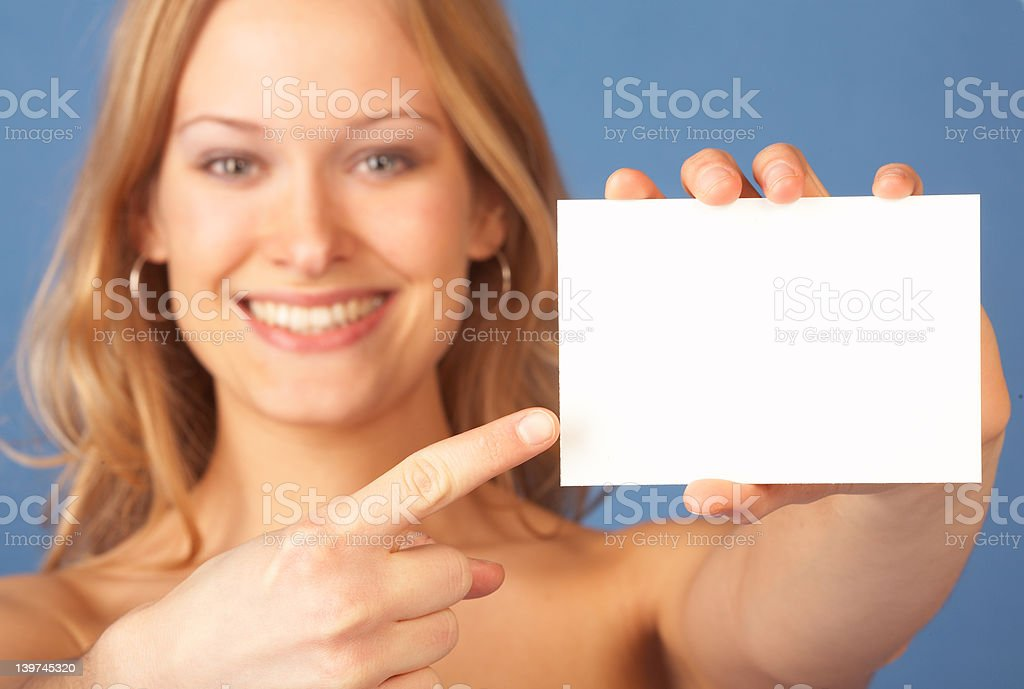 Girl with notecard royalty-free stock photo