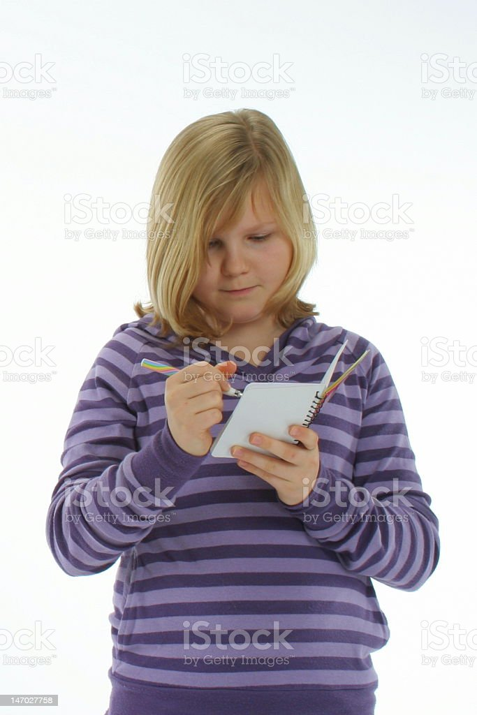 Girl with notepad royalty-free stock photo