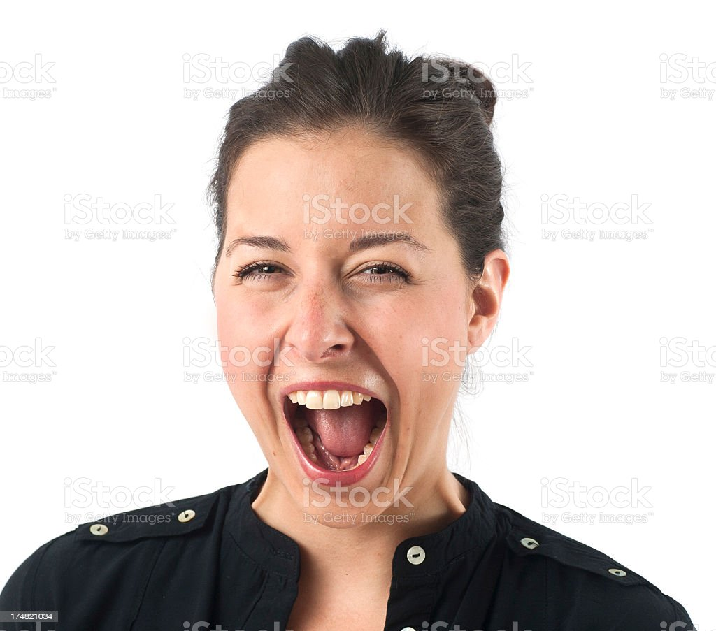 girl with open mouth on white background stock photo