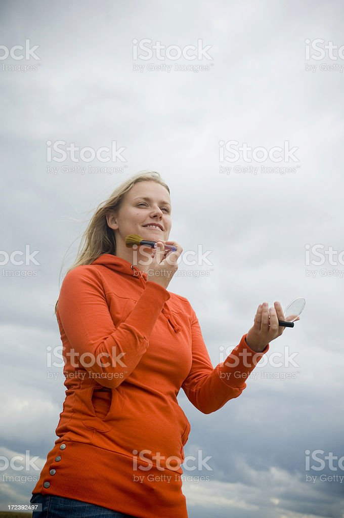 Girl with orange sweater royalty-free stock photo