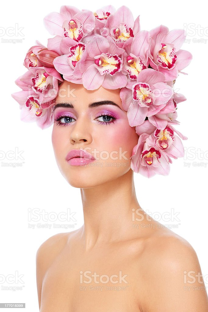 Girl with orchids royalty-free stock photo