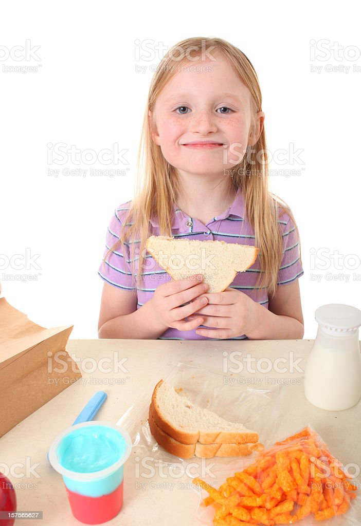 girl with packed school lunch royalty-free stock photo
