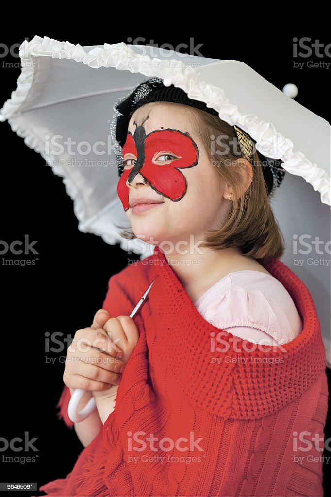 Girl with painting face and white umbrella royalty-free stock photo