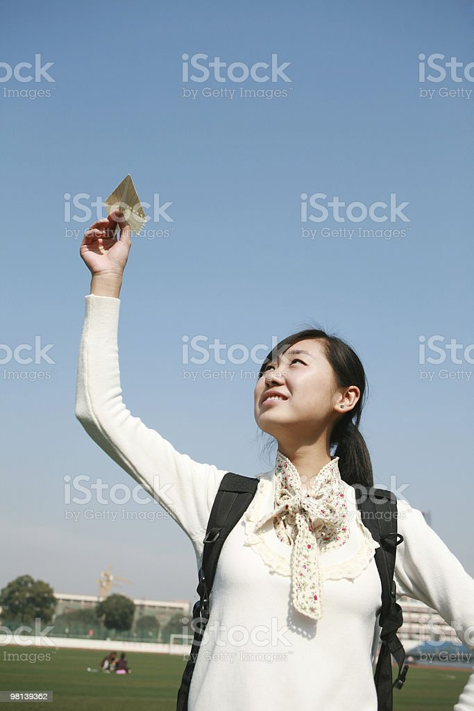 girl with Paper Airplane royalty-free stock photo