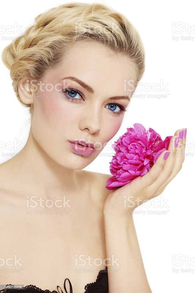 Girl with peony royalty-free stock photo