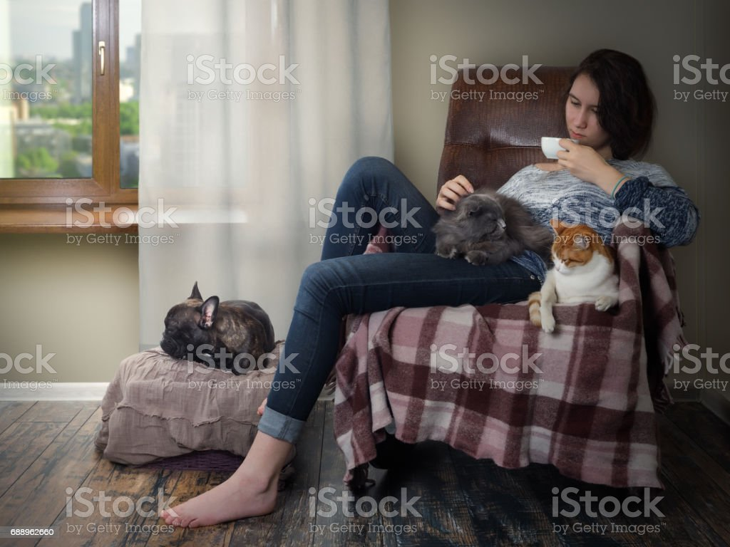 Girl with Pets stock photo