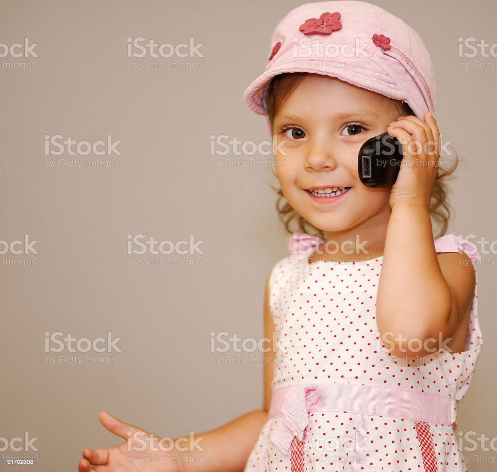 Girl with phone royalty-free stock photo