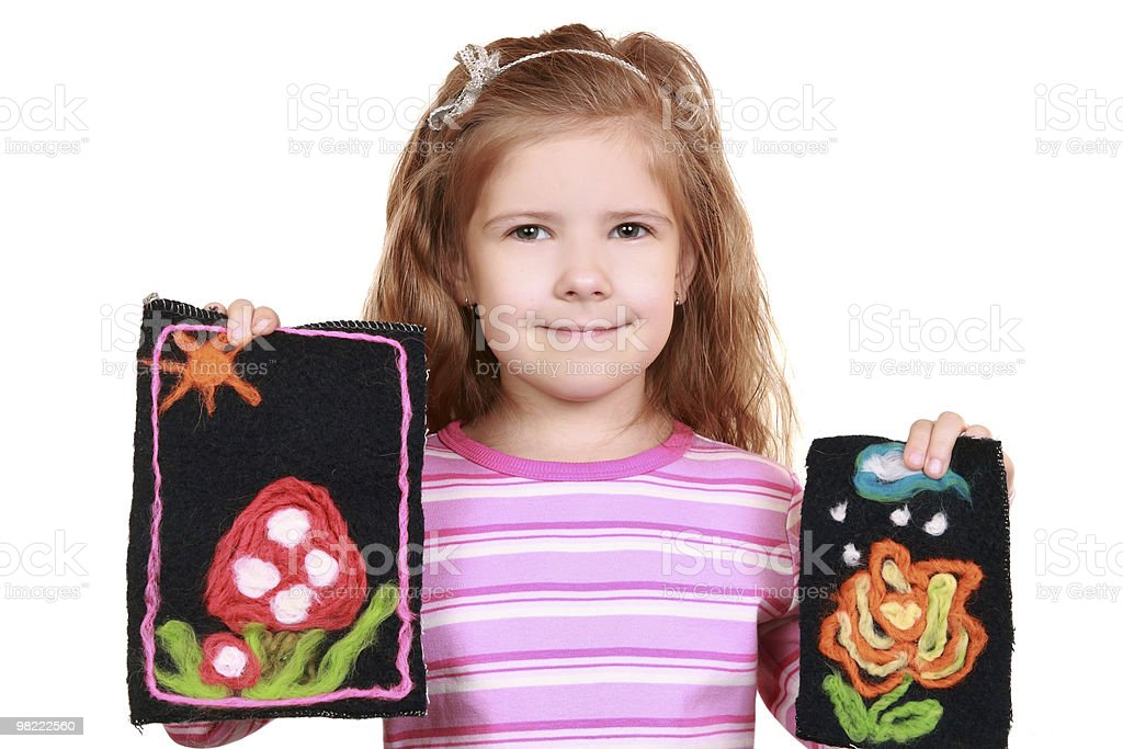 Girl with pictures royalty-free stock photo