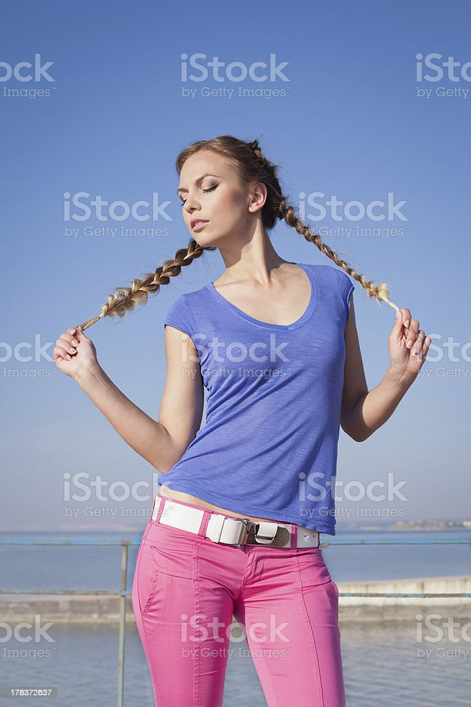 Girl with pigtails on open air royalty-free stock photo