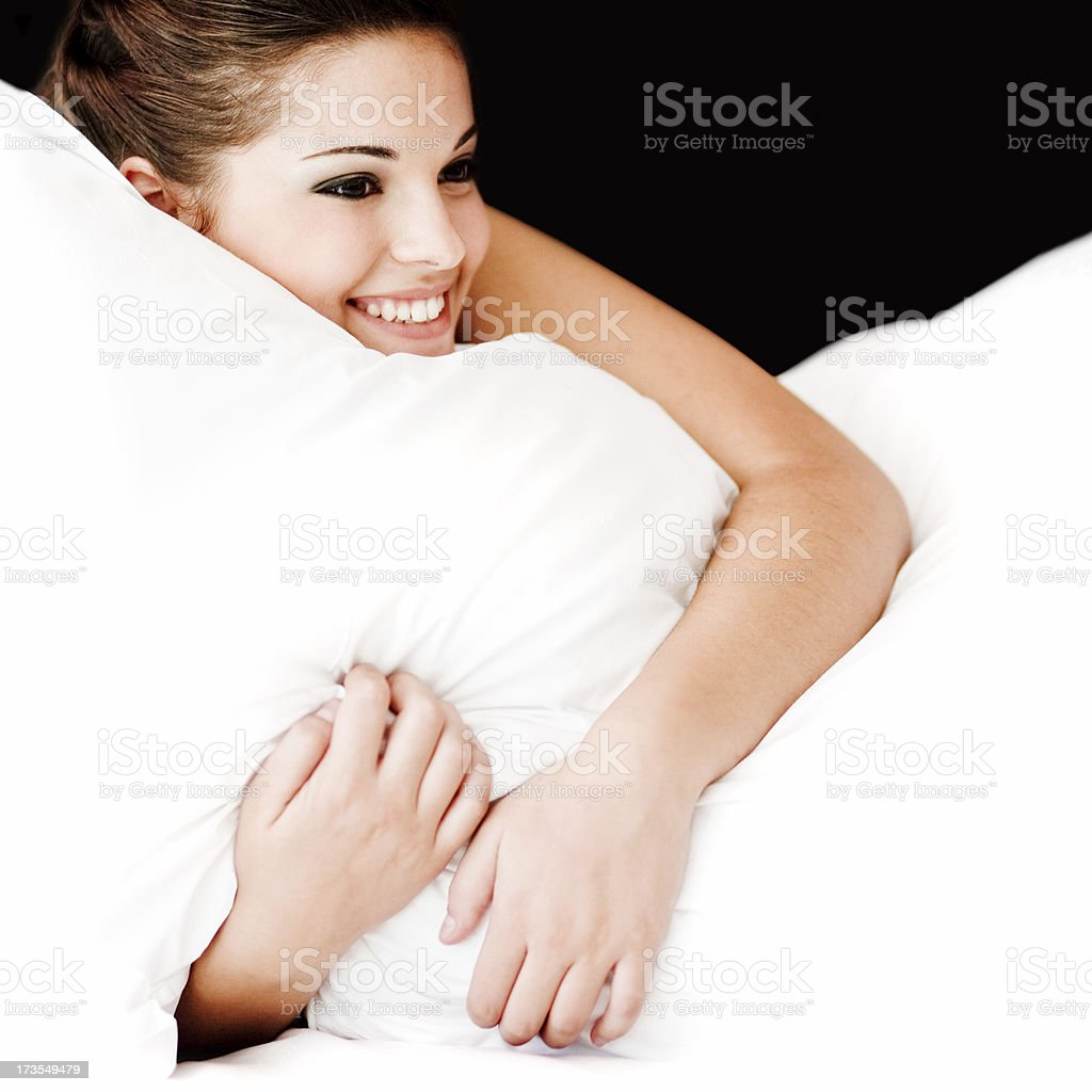 Girl with Pillow royalty-free stock photo