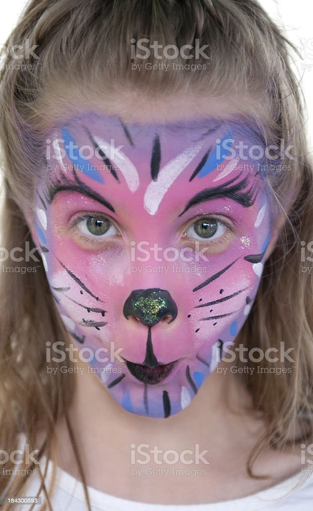 Girl with pink cat face royalty-free stock photo