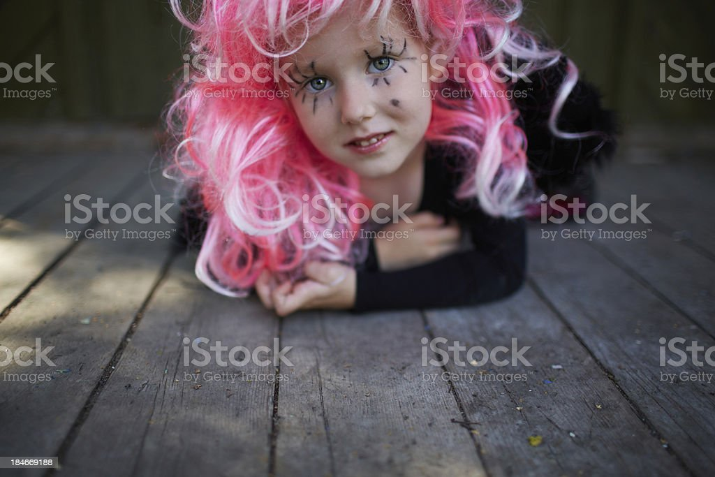 Girl with pink hair royalty-free stock photo