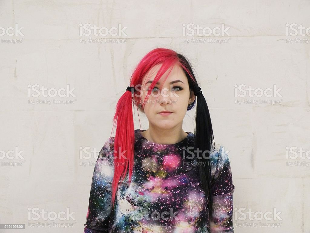 Girl with pink hair stock photo