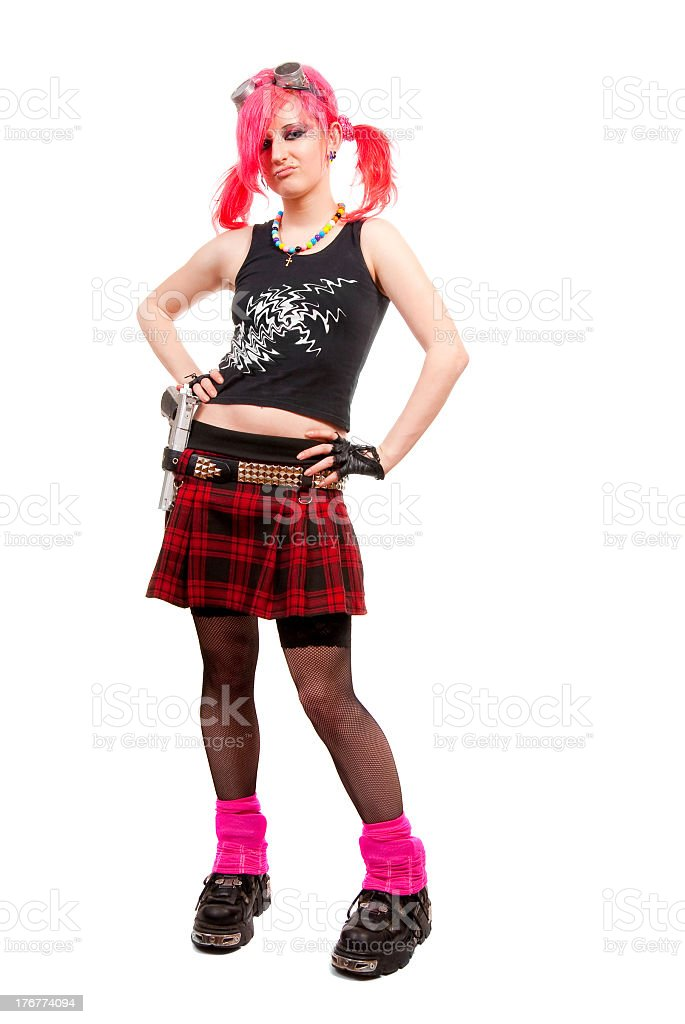 Girl with pink hair wearing punk fashion stock photo