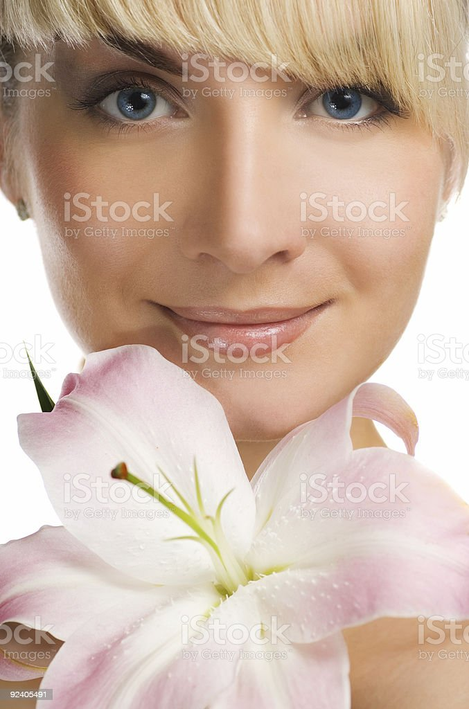 Girl with pink lily royalty-free stock photo