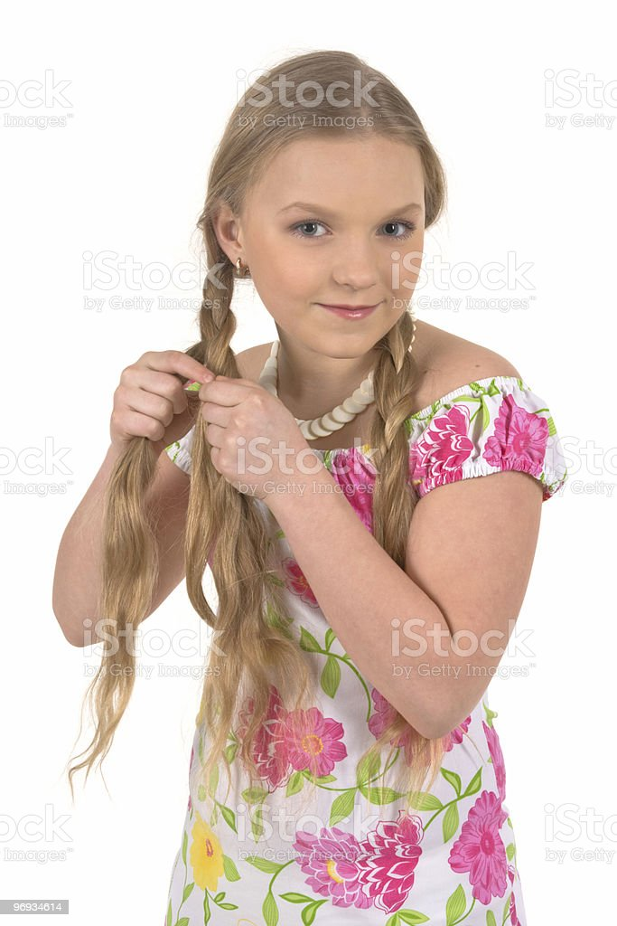 Girl with plait royalty-free stock photo