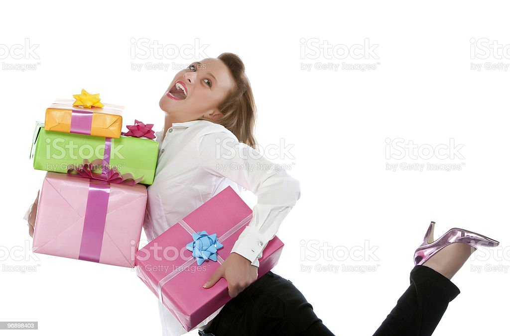 girl with present royalty-free stock photo