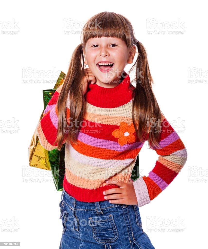 Girl with presents photo libre de droits