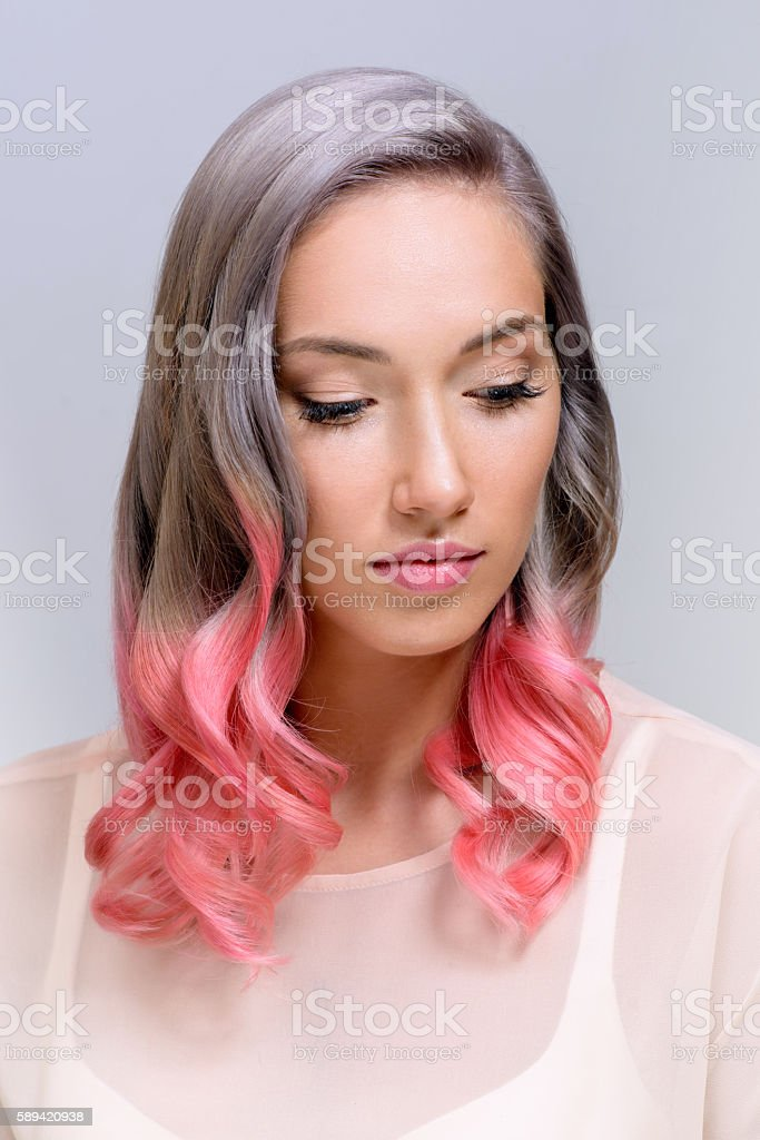 girl with professional hair colouring and hairstyle stock photo
