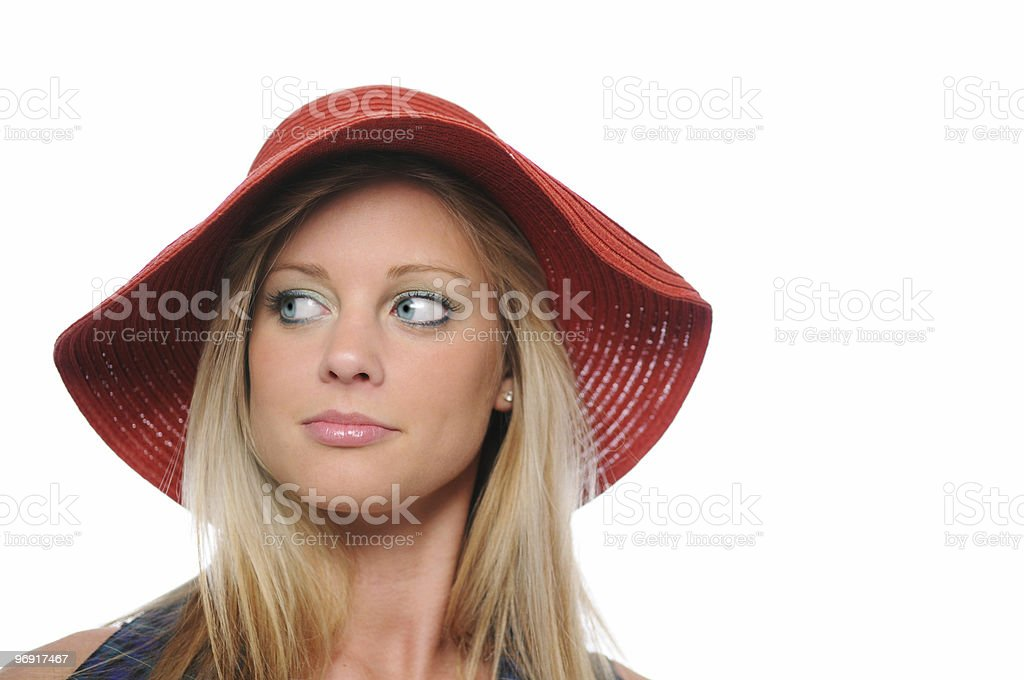 Girl with red hat royalty-free stock photo