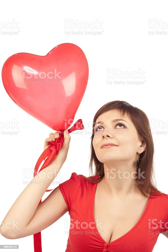 girl with red heart balloon royalty-free stock photo