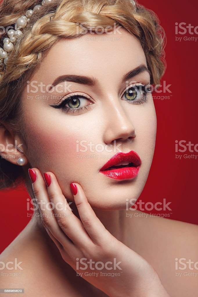Girl with red lips stock photo