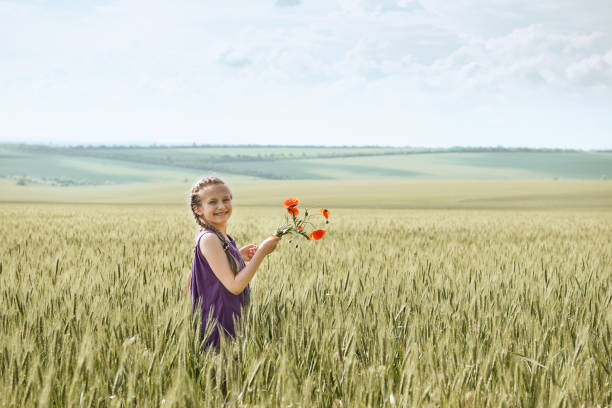 girl with red tulip flowers posing in the wheat field, bright sun, beautiful summer landscape - moldova stock pictures, royalty-free photos & images