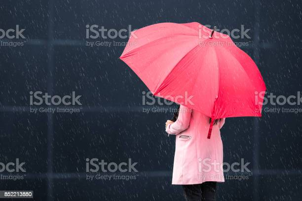 Girl With Red Umbrella On Rainy Day Stock Photo - Download Image Now