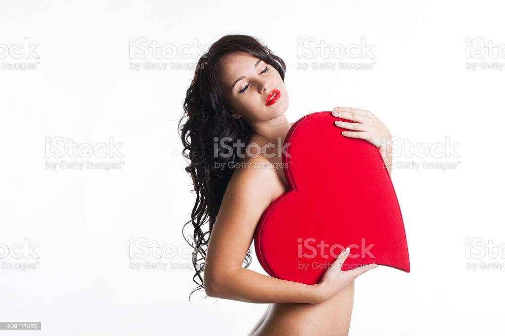 Girl With Red Wings Stock Photo