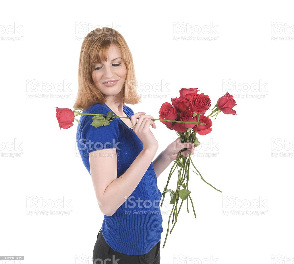 Girl with Roses royalty-free stock photo