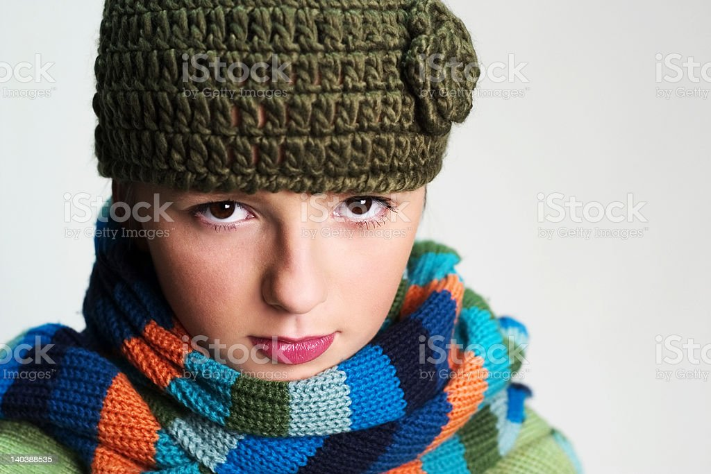 Girl with scarf royalty-free stock photo