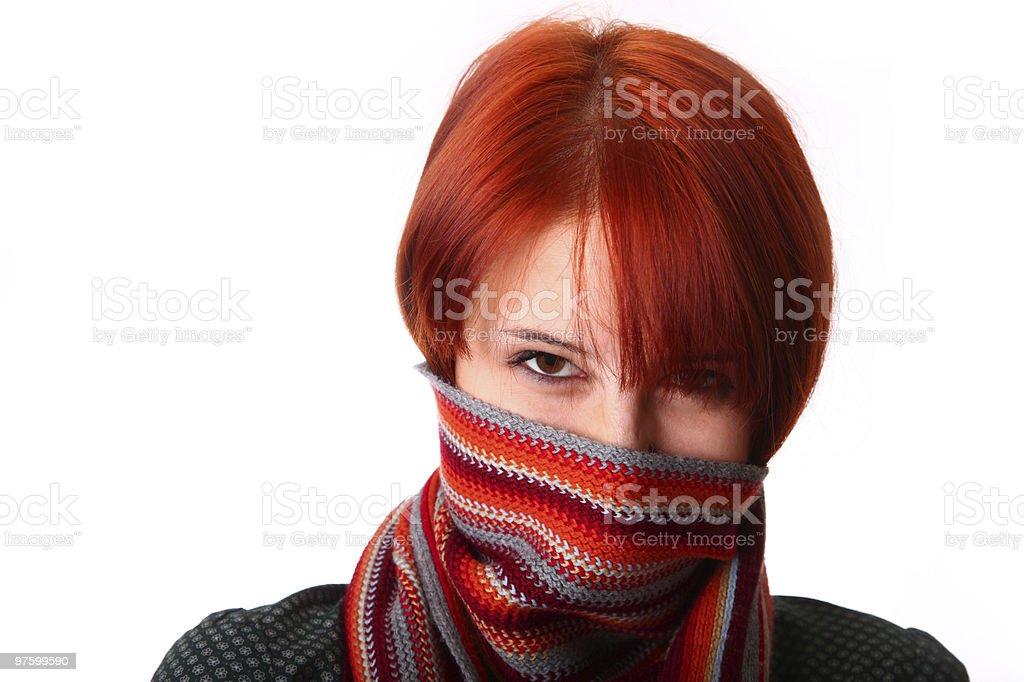 Fille avec une écharpe photo libre de droits