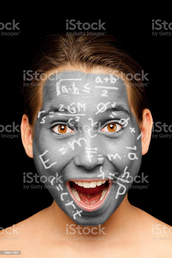 girl with science formulas painted on her face royalty-free stock photo