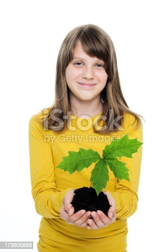 istock Girl With Seedling In Her Hands 173905688