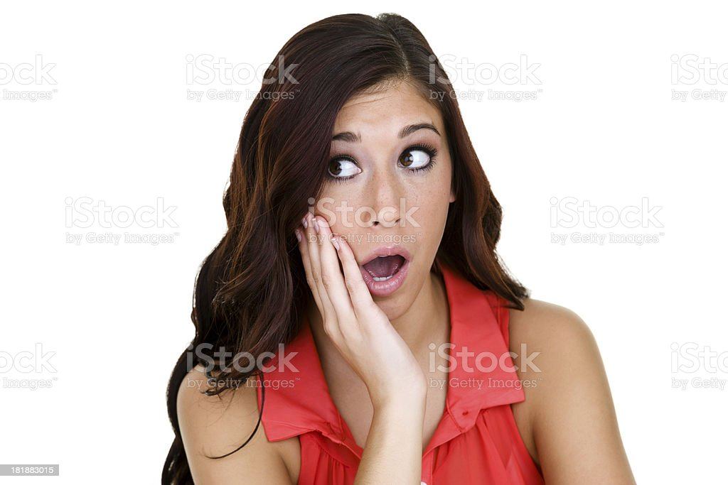 Girl with shocked expression royalty-free stock photo