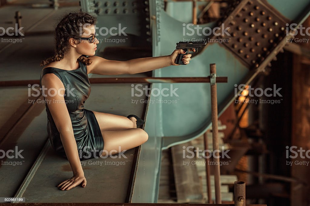 Girl with shoots. stock photo