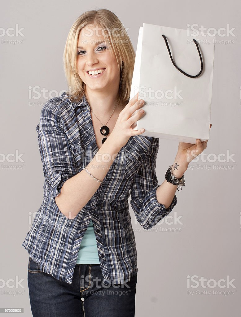 Girl with shopping bag royalty-free stock photo