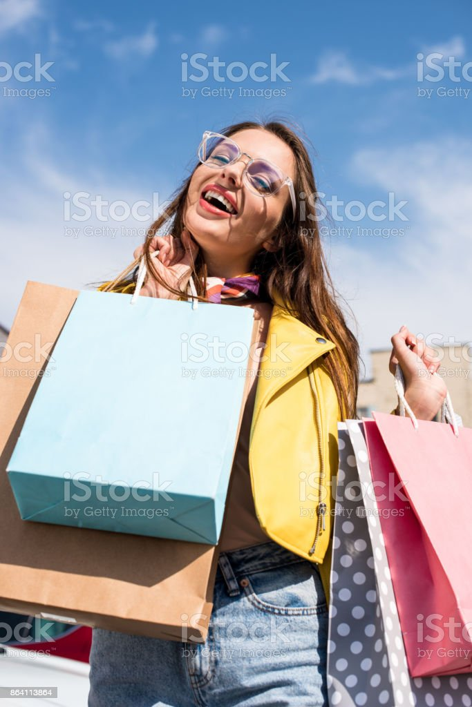 girl with shopping bags royalty-free stock photo